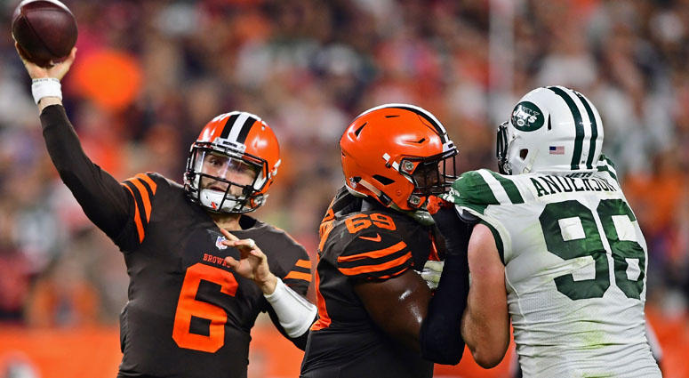 Browns quarterback Baker Mayfield throws a pass against the Jets on Sept. 20, 2018, at FirstEnergy Stadium in Cleveland.