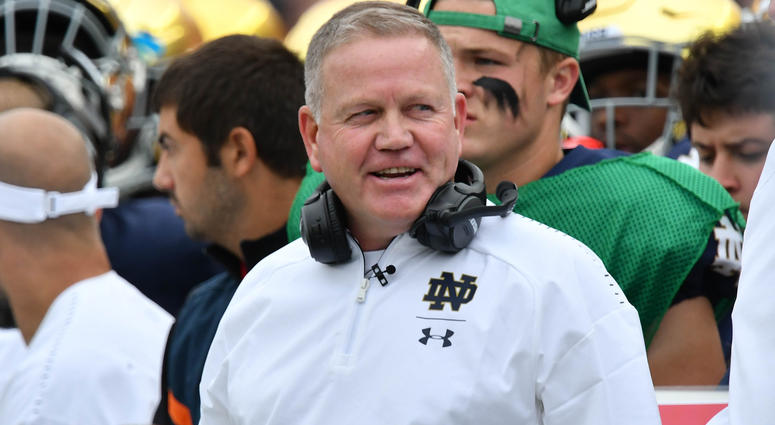 Sep 8, 2018; South Bend, IN, USA; Notre Dame Fighting Irish head coach Brian Kelly smiles in the first quarter against the Ball State Cardinals at Notre Dame Stadium. Mandatory Credit: Matt Cashore-USA TODAY Sports