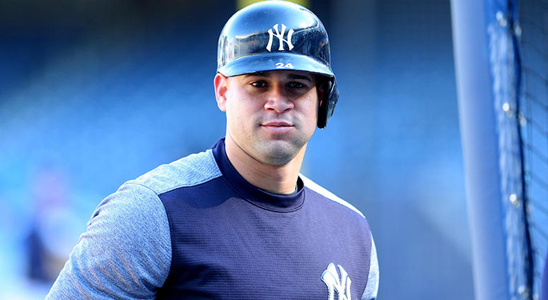 Oct 18, 2017; Bronx, NY, USA; New York Yankees catcher Gary Sanchez before game five of the 2017 ALCS playoff baseball series against the Houston Astros at Yankee Stadium. Mandatory Credit: Brad Penner-USA TODAY Sports