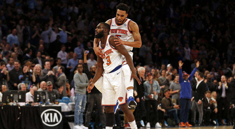 The Knicks' Tim Hardaway Jr. (3) and Courtney Lee
