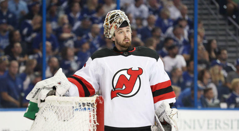 New Jersey Devils goaltender Keith Kinkaid during the first period of Game 1 of the first round of the Playoffs against the Tampa Bay Lightning at Amalie Arena. Credit: Kim Klement-USA TODAY