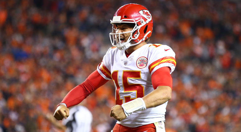 Chiefs quarterback Patrick Mahomes celebrates a fourth quarter touchdown against the Denver Broncos on Oct. 1, 2018, at Broncos Stadium at Mile High.