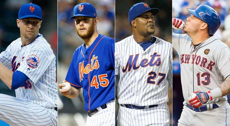 From left, Jacob deGrom, Zack Wheeler, Jeurys Familia and Asdrubal Cabrera