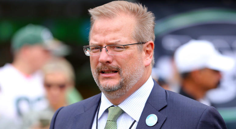 Oct 15, 2017; East Rutherford, NJ, USA; New York Jets general manager Mike Maccagnan on the sidelines before a game against the New England Patriots at MetLife Stadium. Mandatory Credit: Brad Penner-USA TODAY Sports