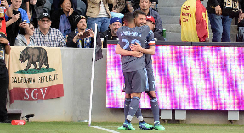 New York City FC's Ismael Tajouri celebrates with David Villa after scoring a goal against Los Angeles FC on May 13, 2018, at Banc of California Stadium in Los Angeles.