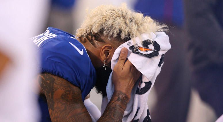 Giants wide receiver Odell Beckham Jr. reacts during the third quarter against the New Orleans Saints on Sept. 30, 2018, at MetLife Stadium.