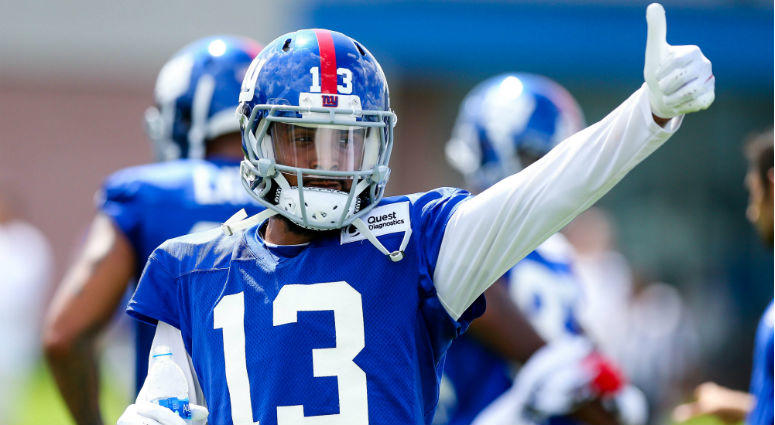 Odell Beckham gives a thumbs up during training camp at Quest Diagnostics Training Center.