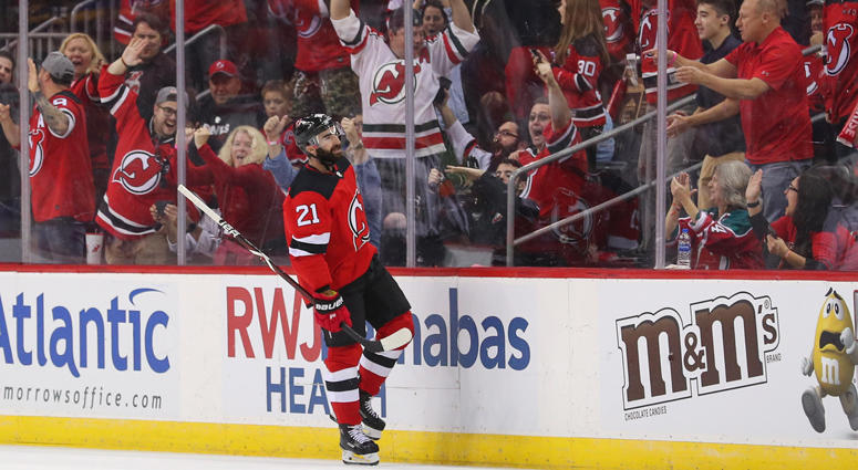 Devils right wing Kyle Palmieri (21) celebrates after scoring a goal against the Washington Capitals on Oct. 11, 2018, at the Prudential Center.