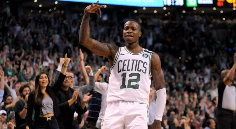 Celtics guard Terry Rozier reacts after scoring against the Cleveland Cavaliers in Game 2 of the Eastern Conference finals on May 15, 2018, at TD Garden in Boston.