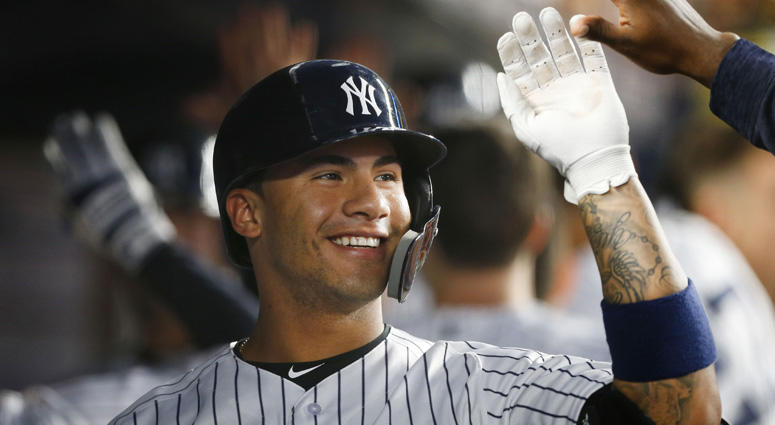 New York Yankees second baseman Gleyber Torres celebrates in the dugout after hitting a three-run homer against the Tampa Bay Rays on June 14, 2018, at Yankee Stadium.
