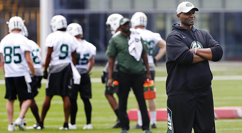 New York Jets head coach Todd Bowles during New York Jets rookie mini camp at Atlantic Health Training Center on May 4, 2018.