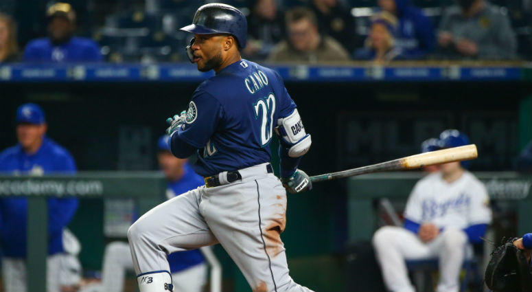 Robinson Cano bats against the Kansas City Royals in the eighth inning at Kauffman Stadium in Kansas City.
