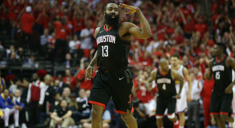 James Harden reacts after scoring a basket against the Golden State Warriors during the second half in game two of the Western conference finals of the 2018 NBA Playoffs at Toyota Center in Houston, TX.