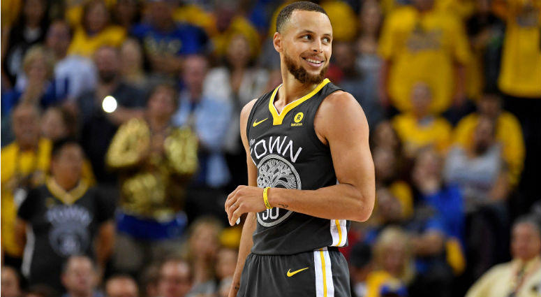 Stephen Curry reacts during the fourth quarter against the Cleveland Cavaliers in game two of the 2018 NBA Finals at Oracle Arena.