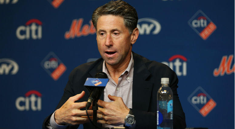 New York Mets chief operations officer Jeff Wilpon addresses the media during a press conference prior to a game against the Miami Marlins at Citi Field.