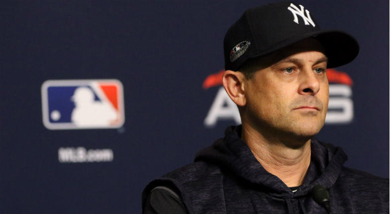 Aaron Boone addresses the media prior to game three of the 2018 ALDS playoff baseball series against the Boston Red Sox at Yankee Stadium