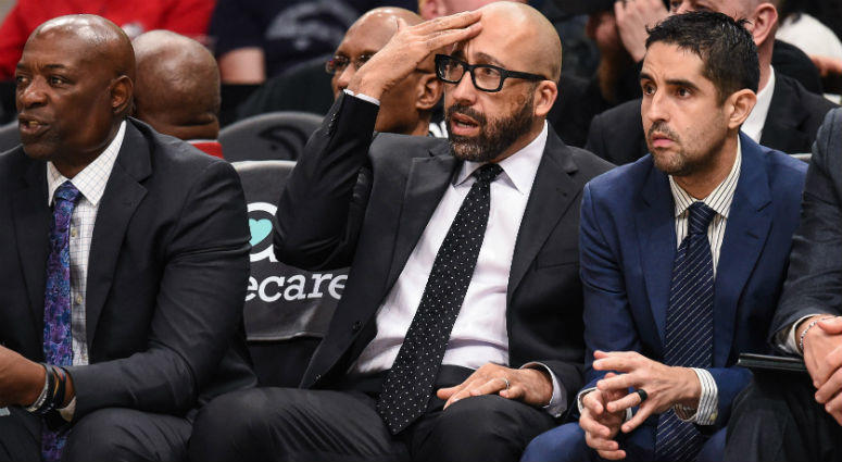 David Fizdale reacts during the game against the Atlanta Hawks during the second half at State Farm Arena.