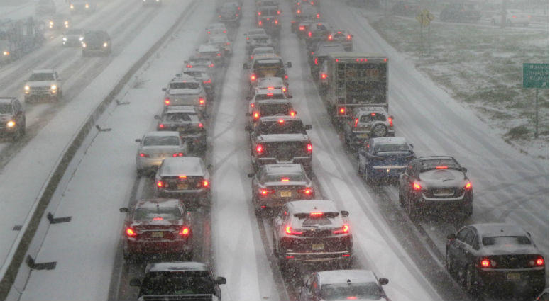 Traffic going eastbound lane of Route 46 in Totowa this afternoon during the height of the snowstorm.