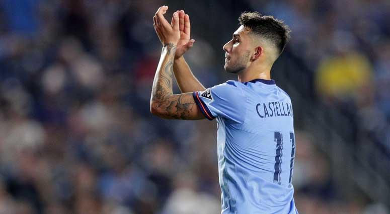 New York City FC forward Valentin Castellanos (11) claps while leaving the field during the second half against the Vancouver Whitecaps on Aug. 4, 2018, at Yankee Stadium.