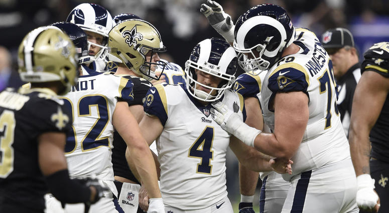 Jan 20, 2019; New Orleans, LA, USA; Los Angeles Rams kicker Greg Zuerlein (4) is congratulated by teammates. Mandatory Credit: John David Mercer-USA TODAY Sports