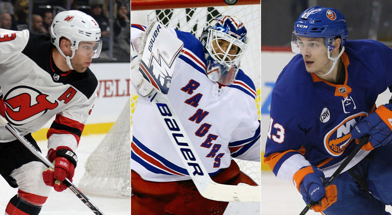 From left, Taylor Hall, Henrik Lundqvist and Mathew Barzal