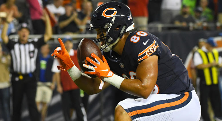 Bears tight end Trey Burton (80) reacts after scoring a touchdown against the Seattle Seahawks on Sept. 17, 2018, at Soldier Field in Chicago.