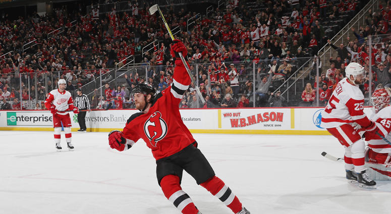 2046e82a4 Blake Coleman of the New Jersey Devils celebrates his short-handed goal  against the Detroit