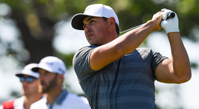 Brooks Koepka tees off the seventh hole during the final round of the U.S. Open on June 17, 2018, at Shinnecock Hills GC - Shinnecock Hills Golf Club in Southampton, New York.