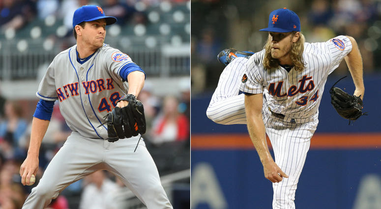 Mets pitchers Jacob deGrom and Noah Syndergaard