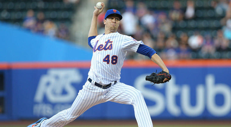 Jacob deGrom pitches against the Miami Marlins on May 23, 2018, at Citi Field.