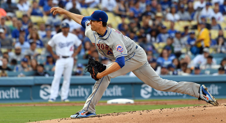 The Mets' Jacob deGrom delivers a pitch against the Dodgers on Sept. 3, 2018, at Dodger Stadium in Los Angeles.