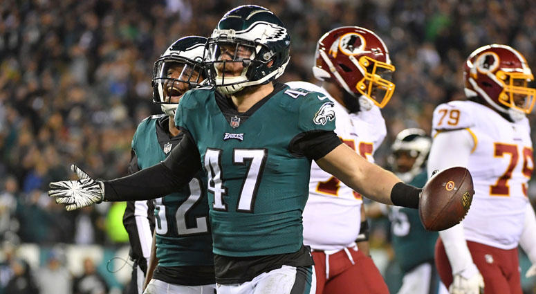 Eagles linebacker Nate Gerry celebrates his interception against the Washington Redskins on Dec. 3, 2018, at Lincoln Financial Field in Philadelphia.