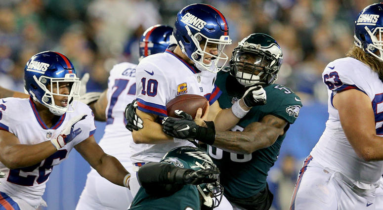Giants quarterback Eli Manning is sacked by Eagles linebacker Nigel Bradham during the fourth quarter on Oct. 11, 2018, at MetLife Stadium.
