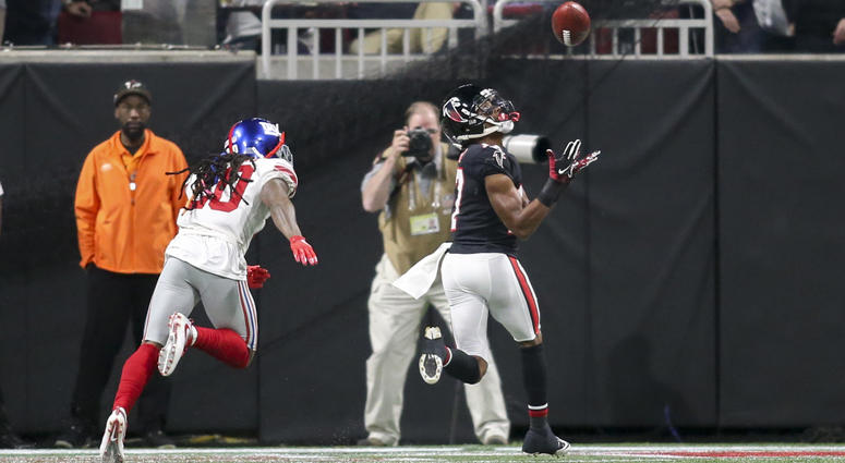 Falcons wide receiver Marvin Hall catches a touchdown pass against the Giants on Oct. 22, 2018, at Mercedes-Benz Stadium in Atlanta.