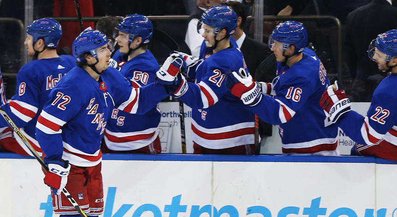 Rangers center Filip Chytil (72) is congratulated after scoring the winning goal against the Dallas Stars on Nov. 19, 2018, at Madison Square Garden.