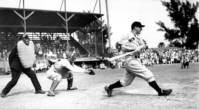 In this March 22, 1937, file photo Lou Gehrig bats the ball for the New York Yankees in his first exhibition game of the season against the Boston Bees in St. Petersburg, Fla.
