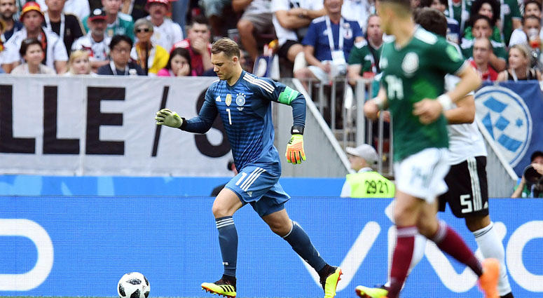 Germany goalkeeper Manuel Neuer (1) with the ball against Mexico in Group F play during the FIFA World Cup on June 17, 2018, at Luzhniki Stadium in Moscow.