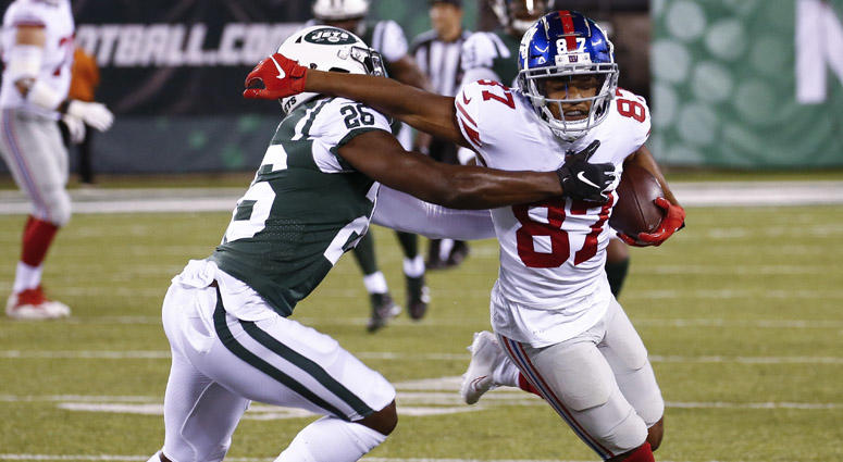 Giants wide receiver Sterling Shepard tries to shake Jets safety Marcus Maye during their preseason game at MetLife Stadium on Aug. 24, 2018, in East Rutherford, New Jersey.