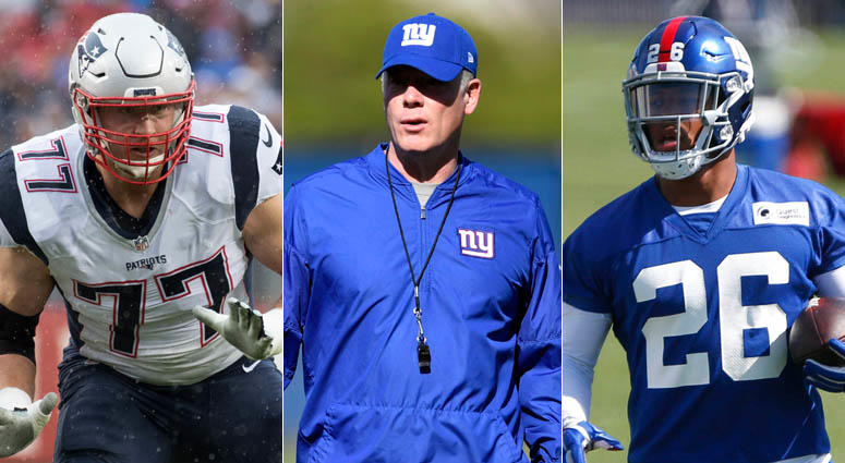 From left, Nate Solder, Pat Shurmur and Saquon Barkley