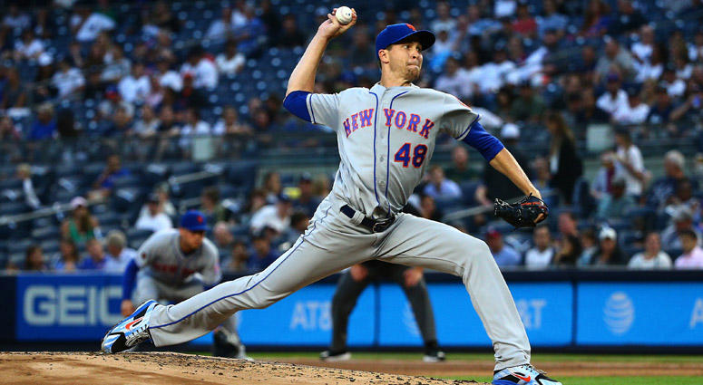 The Mets' Jacob deGrom delivers a pitch against the Yankees on Aug. 13, 2018, at Yankee Stadium.