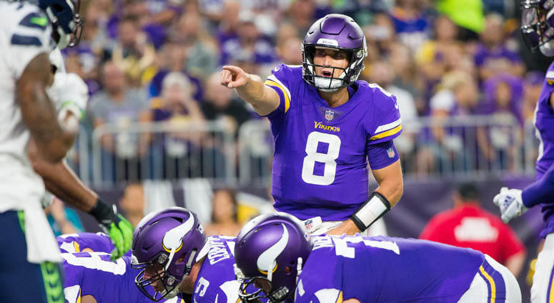 Minnesota Vikings quarterback Kirk Cousins in the second quarter against the Seattle Seahawks on Aug. 24, 2018, at U.S. Bank Stadium.