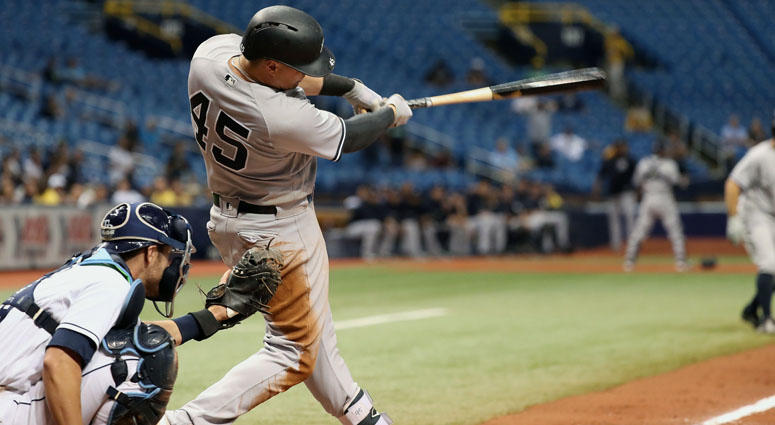 Yankees first baseman Luke Voit hits a two-RBI single during the ninth inning against the Tampa Bay Rays on Sept. 26, 2018, at Tropicana Field.