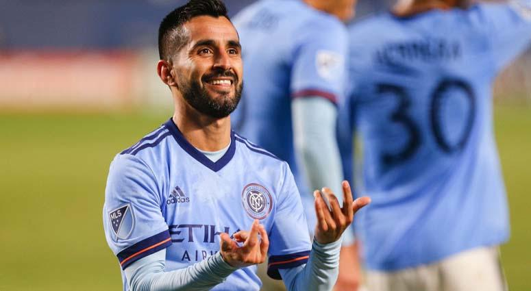 New York City midfielder Maximiliano Moralez (10) celebrates after his goal against the Philadelphia Union on Oct. 31, 2018, at Yankee Stadium.