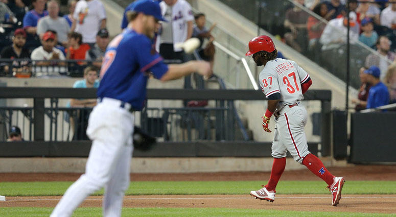 Phillies center fielder Odubel Herrera rounds the bases after hitting a solo home run against Mets pitcher Drew Gagnon on July 10, 2018, at Citi Field.