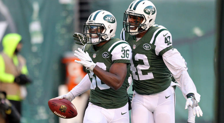 Jets safety Doug Middleton (36) celebrates with Ronald Martin after recovering a kickoff in the end zone for a touchdown against the Buffalo Bills on Jan. 1, 2017, at MetLife Stadium.