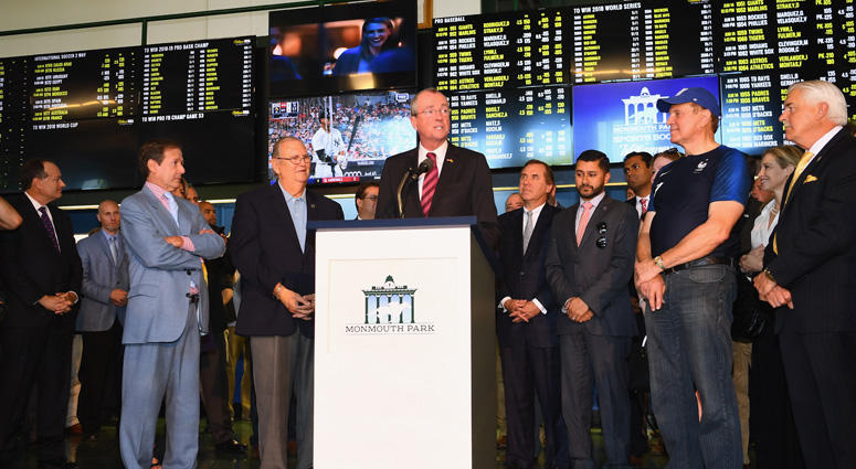 New Jersey Gov. Phil Murphy speaks June 14, 2018, at Monmouth Park in Oceanport as it opens and welcomes members of the public to place the first legal sports bets.