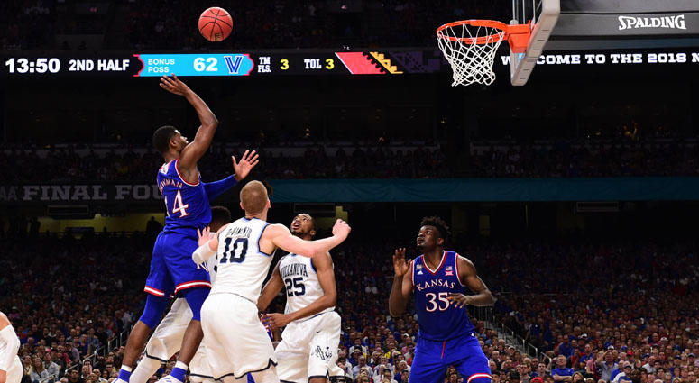 Kansas' Malik Newman (14) shoots against the Villanova Wildcats in the semifinals of the 2018 men's Final Four on March 31, 2018, at the Alamodome in San Antonio.