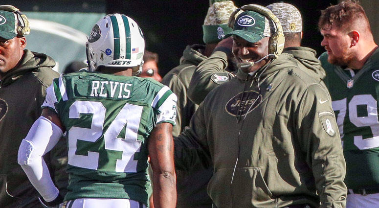Jets cornerback Darrelle Revis and coach Todd Bowles in 2015