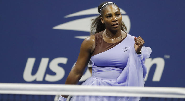 Serena Williams celebrates after match point against Anastasija Sevastova of Latvia in a women's semifinal match on Sept. 6, 2018, at the U.S. Open at USTA Billie Jean King National Tennis Center.