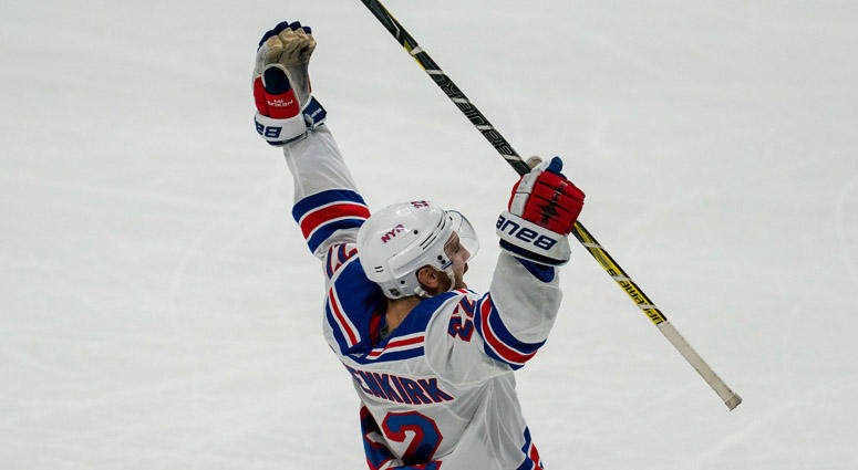 Rangers defenseman Kevin Shattenkirk celebrates after scoring the winning goal in the shootout round against the San Jose Sharks on Oct. 30, 2018, at the SAP Center in San Jose, California.